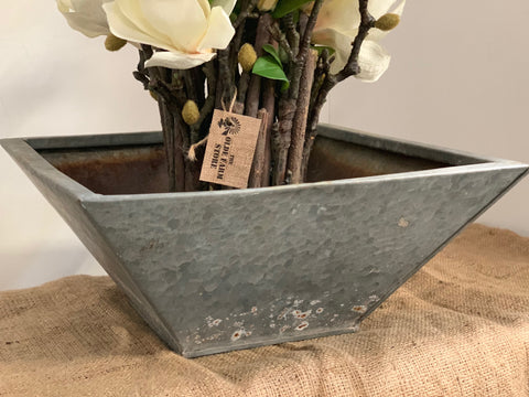 Square Rustic Galvanised Metal Planter