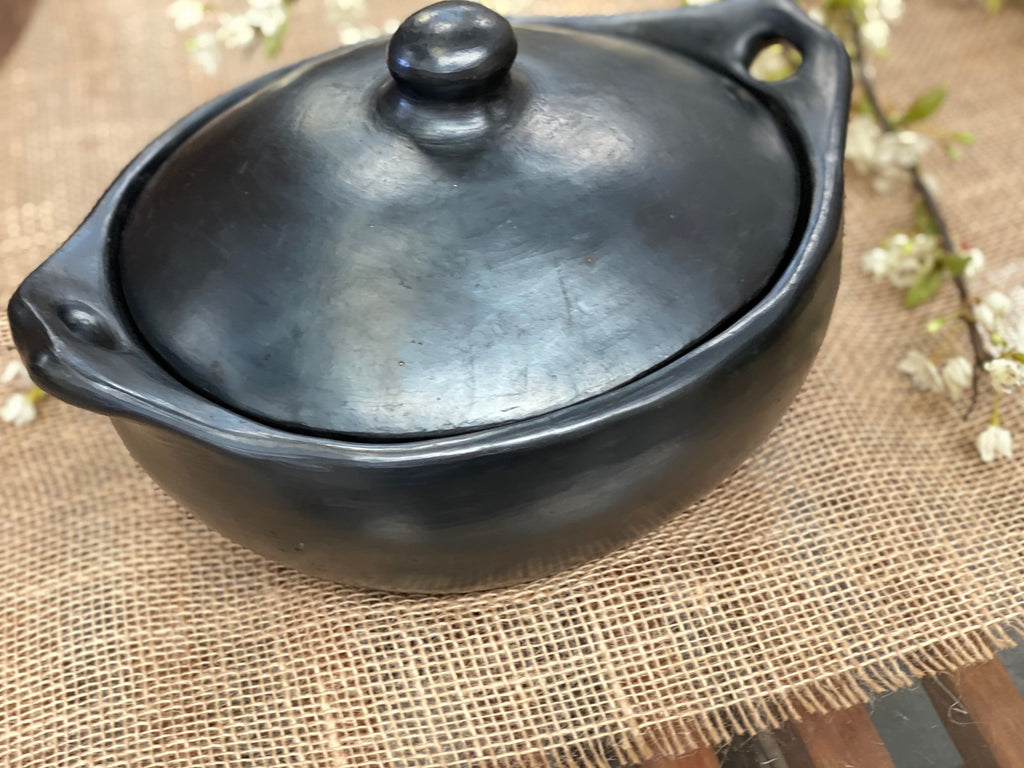 UNIQUE handmade black pottery LARGE casserole dish with lid