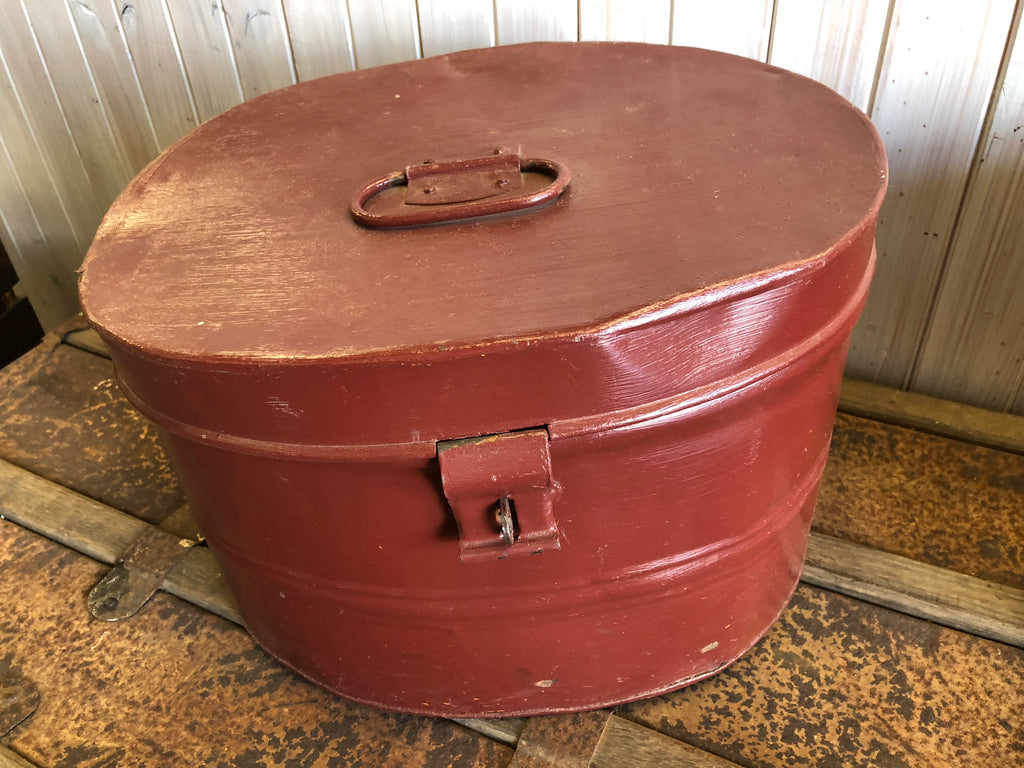Vintage Brown Tin Hat Box