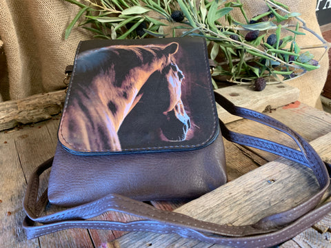 Brown HORSE Flap Shoulder Bag