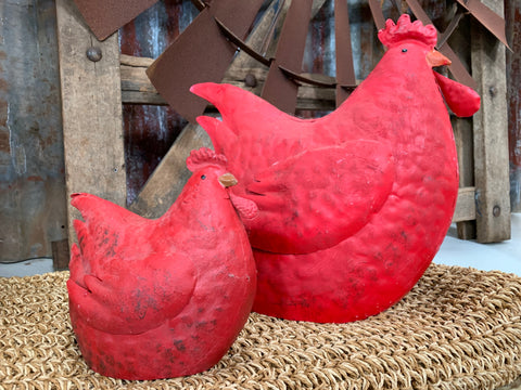 Sitting RED Hen Pair