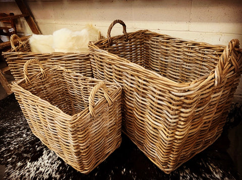JUMBO Rectangle Rattan Basket with HANDLES