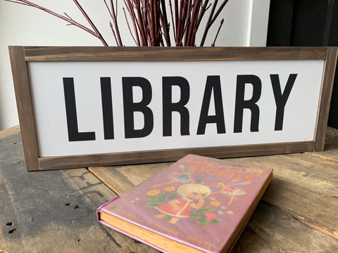 Handmade LIBRARY Sign
