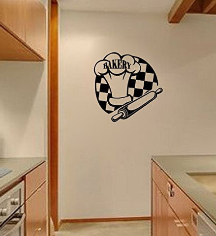 Bakery with Chef Hat and Rolling Pin Vinyl Wall Words Decal Sticker Graphic - Wall Decal