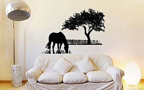 Horse Grazing Silhouette with Grass and Tree Vinyl Wall Decal Sticker Graphic