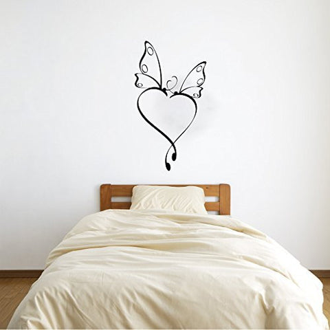 Butterfly Heart Scrolls Vinyl Wall Decal Sticker Graphic - Oakwood Decals - 1