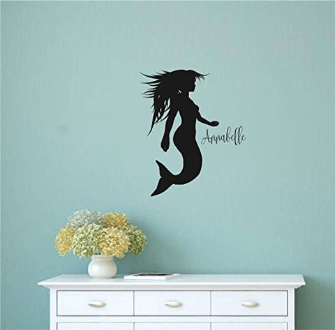 Mermaid Silhouette with Custom Monogram Name Vinyl Wall Words Decal Sticker Graphic
