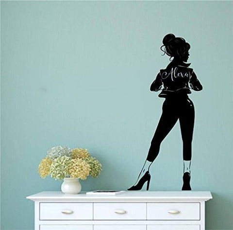 Lady Woman with Jacket Leggings and High Heels Silhouette with Optional Custom Monogram Name Vinyl Wall Words Decal Sticker Graphic