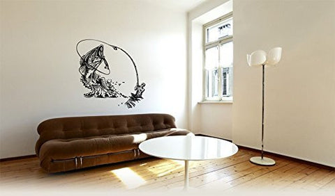 Bass Fish and Fisherman Silhouette Vinyl Wall Decal Sticker Graphic - Wall Decal