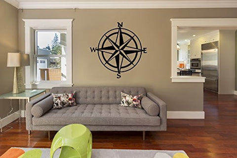 Nautical Compass Vinyl Wall Decal Sticker - Oakwood Decals - 1