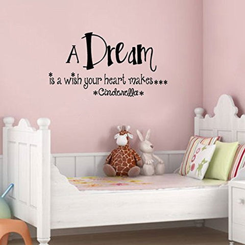 A Dream is a Wish Your Heart Makes Cinderella Vinyl Wall Words Decal Sticker Graphic
