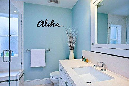 Aloha with Hibiscus Vinyl Wall Words Decal Sticker Graphic - Wall Decal