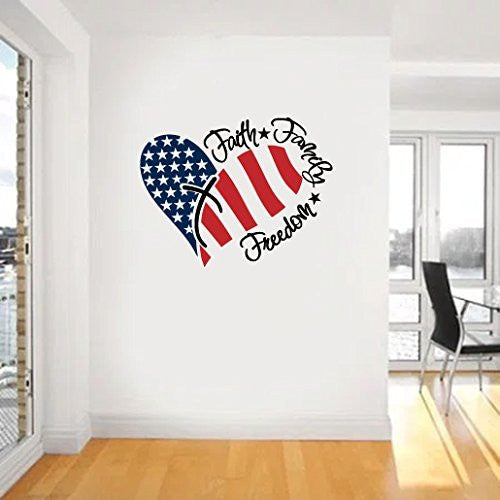 Faith Family Freedom American Flag and Cross Vinyl Wall Words Decal Sticker Graphic - Oakwood Decals - 1