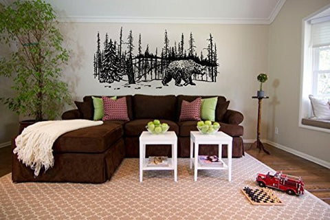 Bear and Winter Forest Pine Trees Vinyl Wall Mural Decal Sticker Graphic - Wall Decal