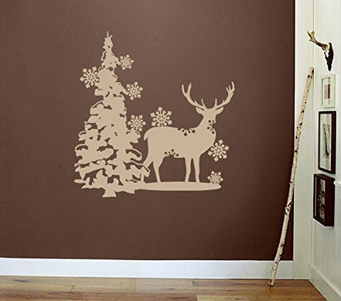 Deer with Pine Tree and Snow Flakes Vinyl Wall Decal Sticker Graphic