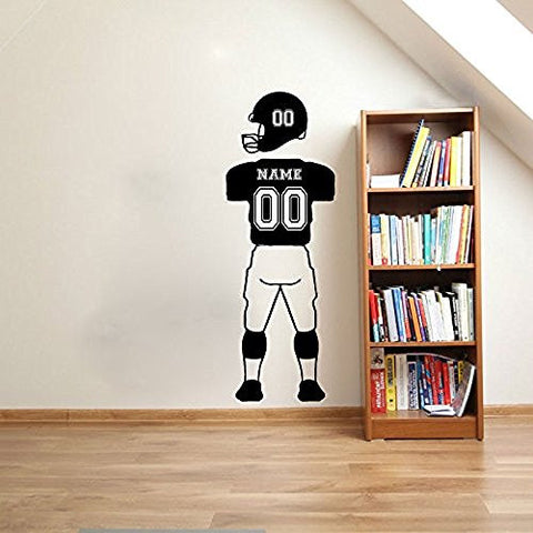 Football Sports Jersey Uniform Pants and Helmet Custom Name and Number Vinyl Wall Words Decal Sticker Graphic