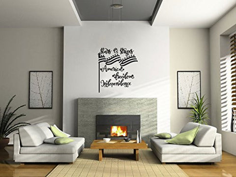 Americana Stars and Stripes Flag America Freedom Independence Vinyl Wall Words Decal Sticker Graphic - Wall Decal