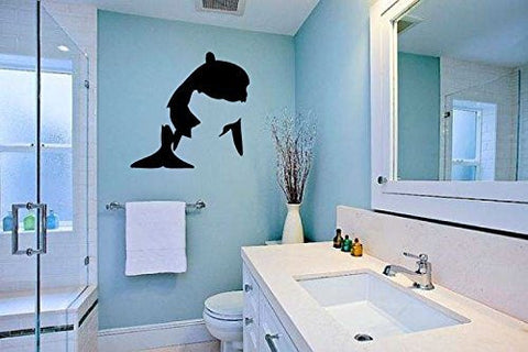 Orca Killer Whale Silhouette Vinyl Wall Words Decal Sticker Graphic