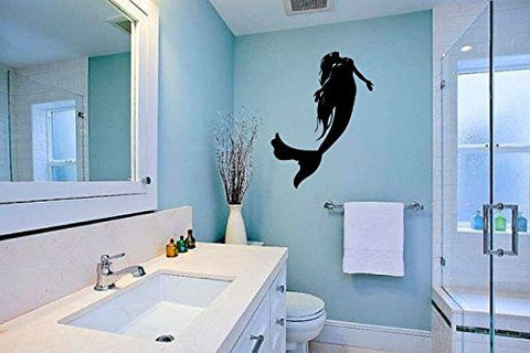Mermaid Silhouette Vinyl Wall Words Decal Sticker Graphic