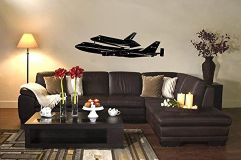 NASA Boeing 747 Airplane Space Shuttle Carrier Silhouette Vinyl Wall Decal Sticker - Oakwood Decals - 1