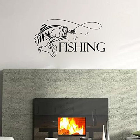 Fishing Sign Words with Bass Fish Silhouette Vinyl Wall Decal Sticker Graphic - Oakwood Decals - 1
