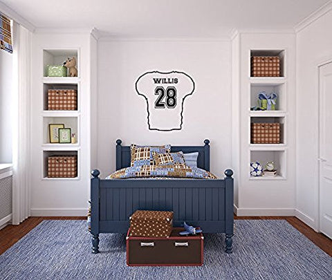 Football Sports Jersey with Custom Name and Number Vinyl Wall Words Decal Sticker Graphic