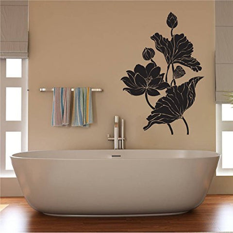 Tropical Flowers Silhouette Vinyl Wall Decal Sticker Graphic