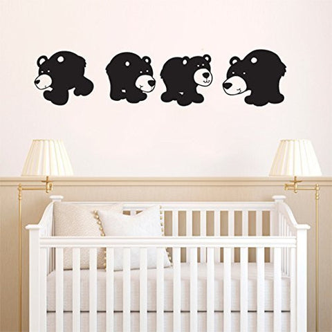 Set of Cute Black Bear Cubs Vinyl Wall Decal Sticker Graphic - Oakwood Decals - 1
