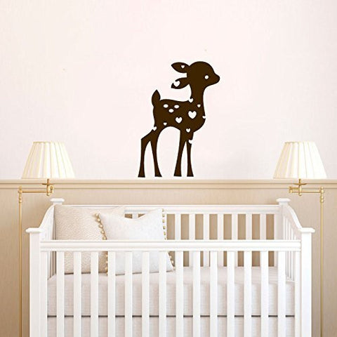 Deer Baby Fawn Silhouette with Custom Monogram Name Vinyl Wall Decal Sticker