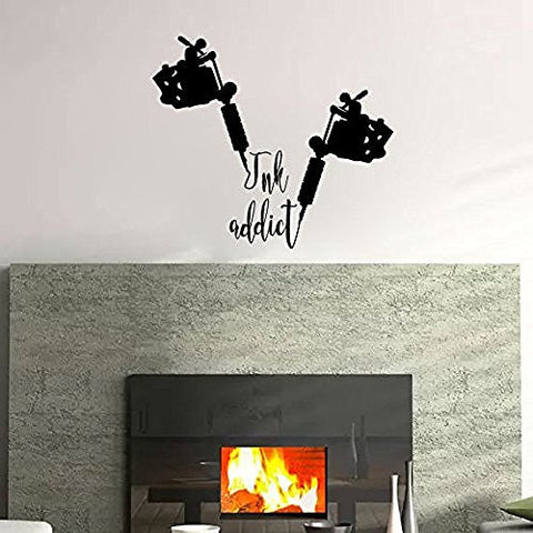 Ink Addict with Tattoo Guns Vinyl Wall Words Decal Sticker Graphic