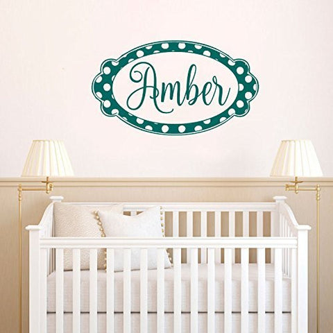 Custom Personalized Name Monogram with Polka Dot Frame Vinyl Wall Words Decal Sticker Graphic