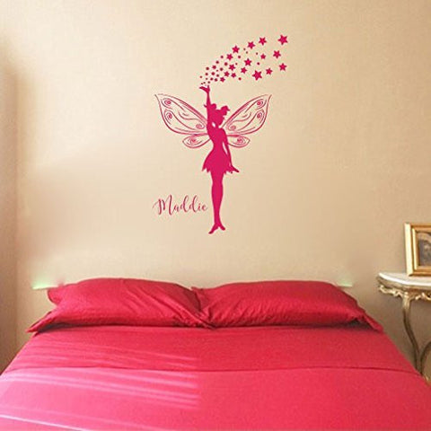 Fairy with Stars Silhouette with Optional Custom Monogram Name Vinyl Wall Words Decal Sticker Graphic