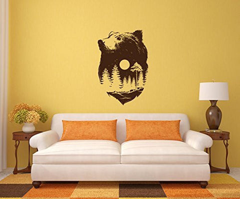 Bear Silhouette with Pine Tree Forest Vinyl Wall Decal Sticker Graphic