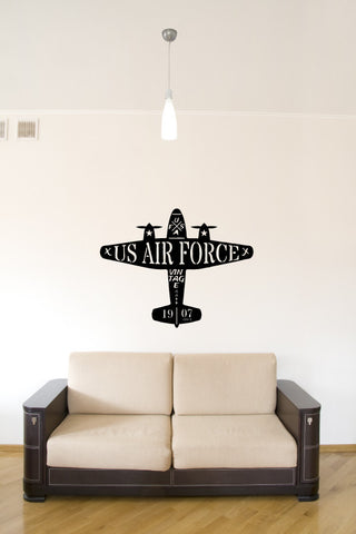 US Air Force Vintage Airplane Silhouette Vinyl Wall Decal Sticker - Oakwood Decals - 1