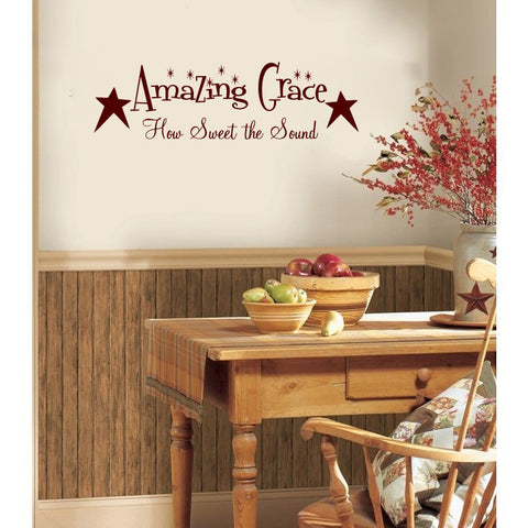 Amazing Grace How Sweet The Sound with Primitive Stars Vinyl Wall Words Decal Sticker Graphic - Wall Decal