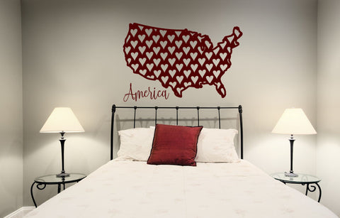 America USA Silhouette with Hearts Vinyl Wall Words Decal Sticker Graphic