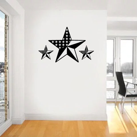 Americana Country Stars and Stripes Barn Stars Vinyl Wall Decal Sticker Graphic - Wall Decal