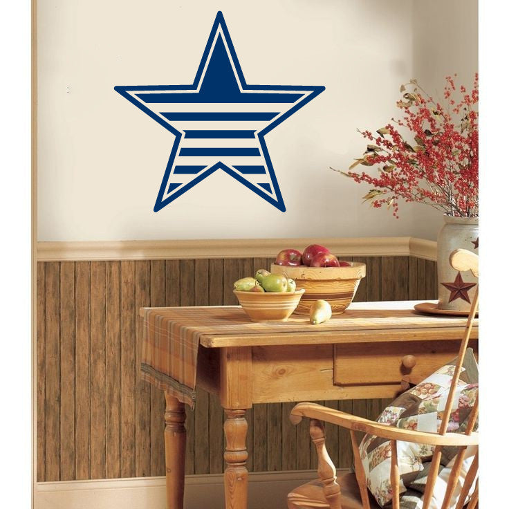 Americana Flag Stripes Country Barn Star Vinyl Wall Decal - Wall Decal
