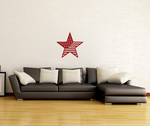 Americana Chevron Country Stars and Stripes Barn Star Vinyl Wall Decal Sticker Graphic - Wall Decal