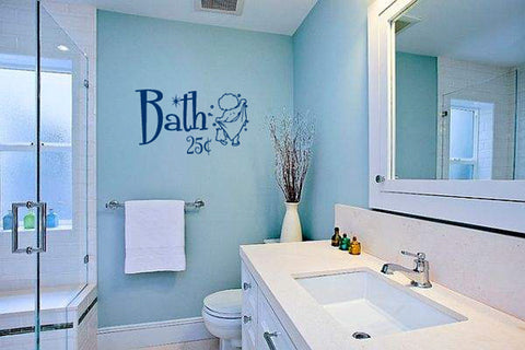 Bath 25 cents with Little Boy and Bubbles Vinyl Wall Words Decal Sticker Graphic - Wall Decal