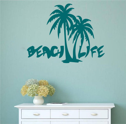 Beach Life With Palm Trees Vinyl Wall Words Decal Sticker Part 91