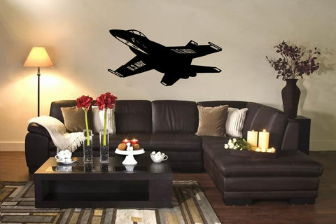 US Navy FA-18 Blue Angels Fighter Jet Airplane Silhouette Vinyl Wall Decal - Oakwood Decals - 1