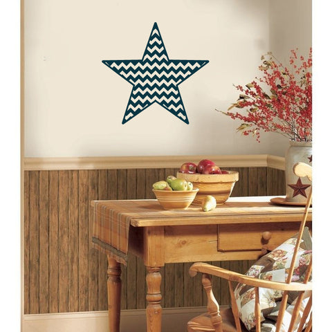Americana Chevron Country Barn Star Vinyl Wall Decal Sticker Graphic - Wall Decal