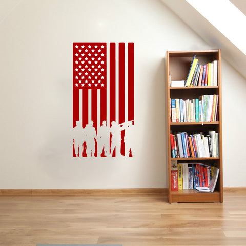 American Flag with Soldier Silhouettes Vinyl Wall Words Decal Sticker Graphic - Wall Decal