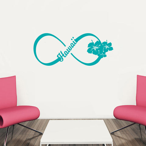 Hawaii Hibiscus Infinity Sign Symbol Vinyl Wall Words Decal Sticker Graphic - Oakwood Decals - 1