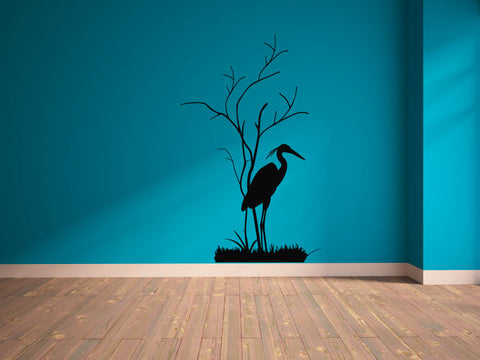 Beach Heron Silhouette with Tree and Grass Vinyl Wall Decal Sticker Graphic