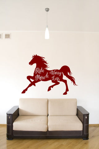 Horse Silhouette Ride More Worry Less Vinyl Wall Words Decal Sticker Graphic