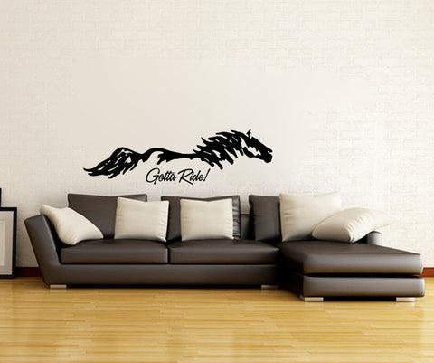 Horse Silhouette Gotta Ride Vinyl Wall Decal Sticker Graphic - Oakwood Decals - 1
