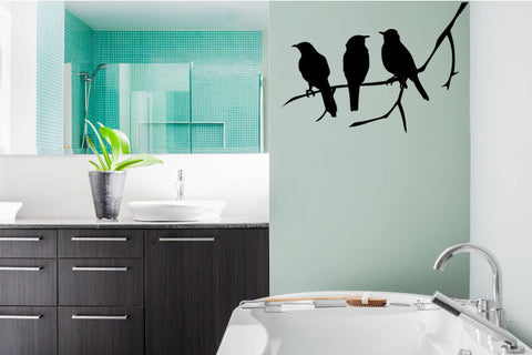 Birds on Branch Silhouette Vinyl Wall Decal Sticker - Wall Decal