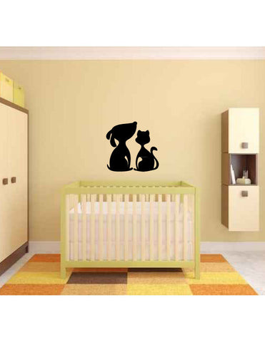 Cat and Dog Silhouette Vinyl Wall Decal Sticker - Oakwood Decals - 1